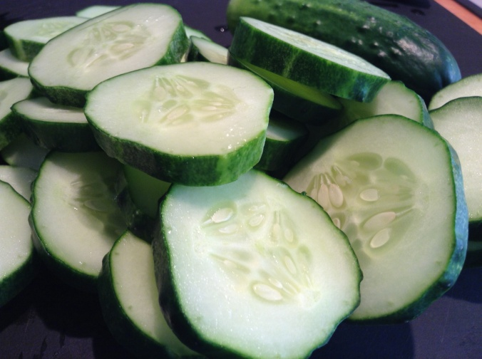 Slice cukes about  1/4 inch thick