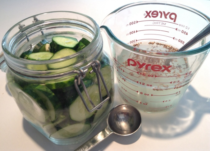 Combine ingredients to add to cucumbers