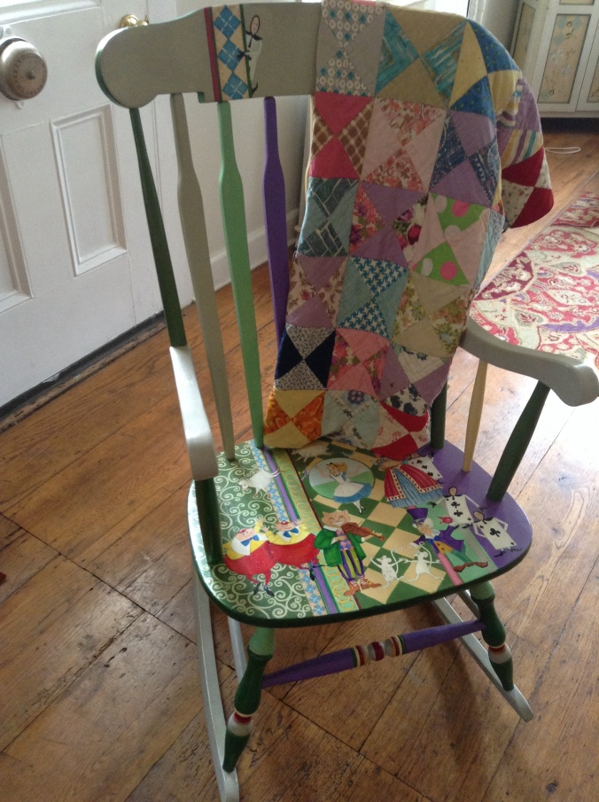 Painted rocker with my Granmother's quilt